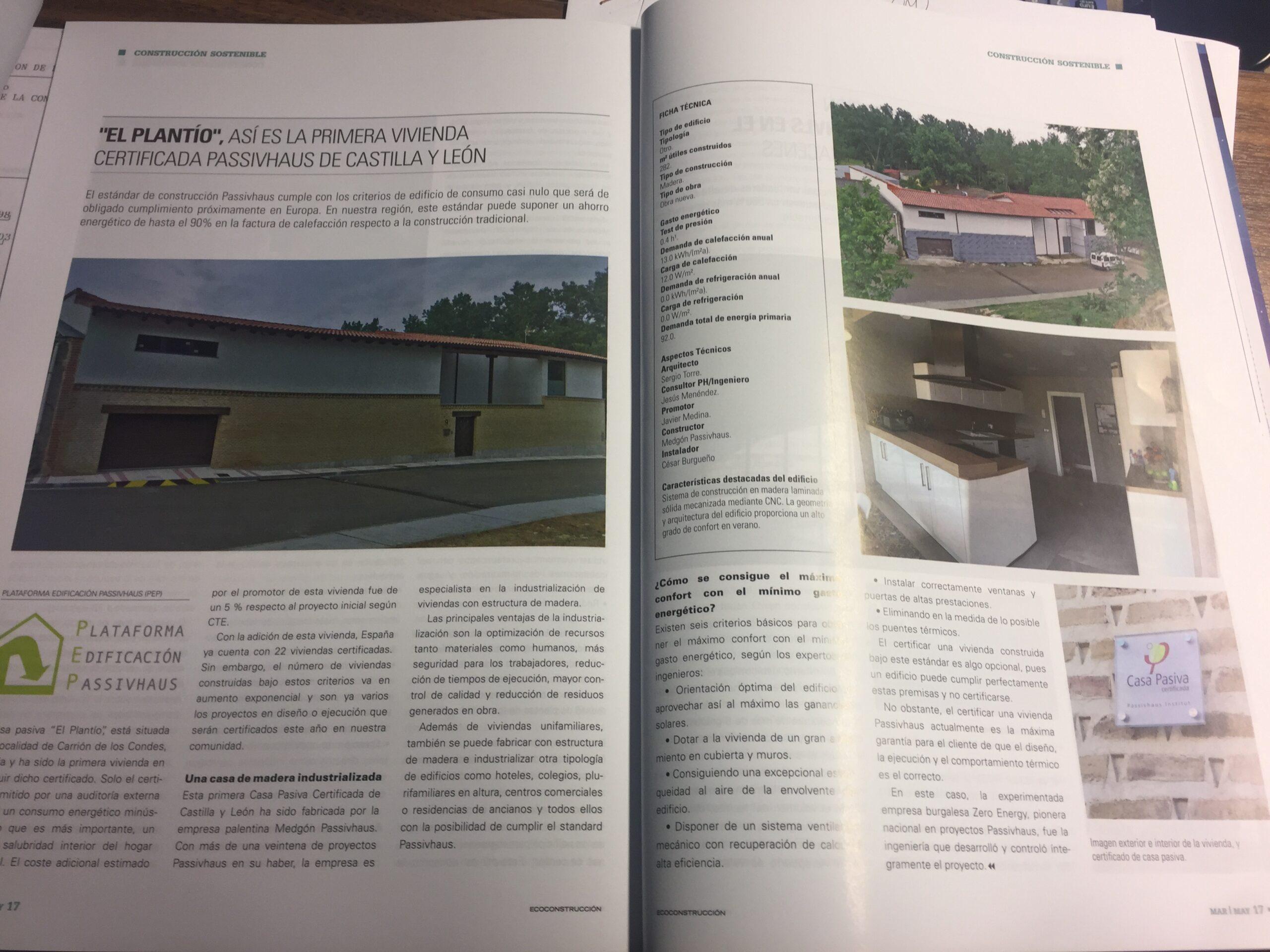 La Casa Pasiva «El Plantío» en la revista Ecoconstrucción